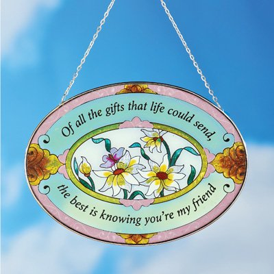 Beautiful Floral Friend Suncatcher Gift - Stained Glass Colorful Outdoor or Indoor Window Hanging