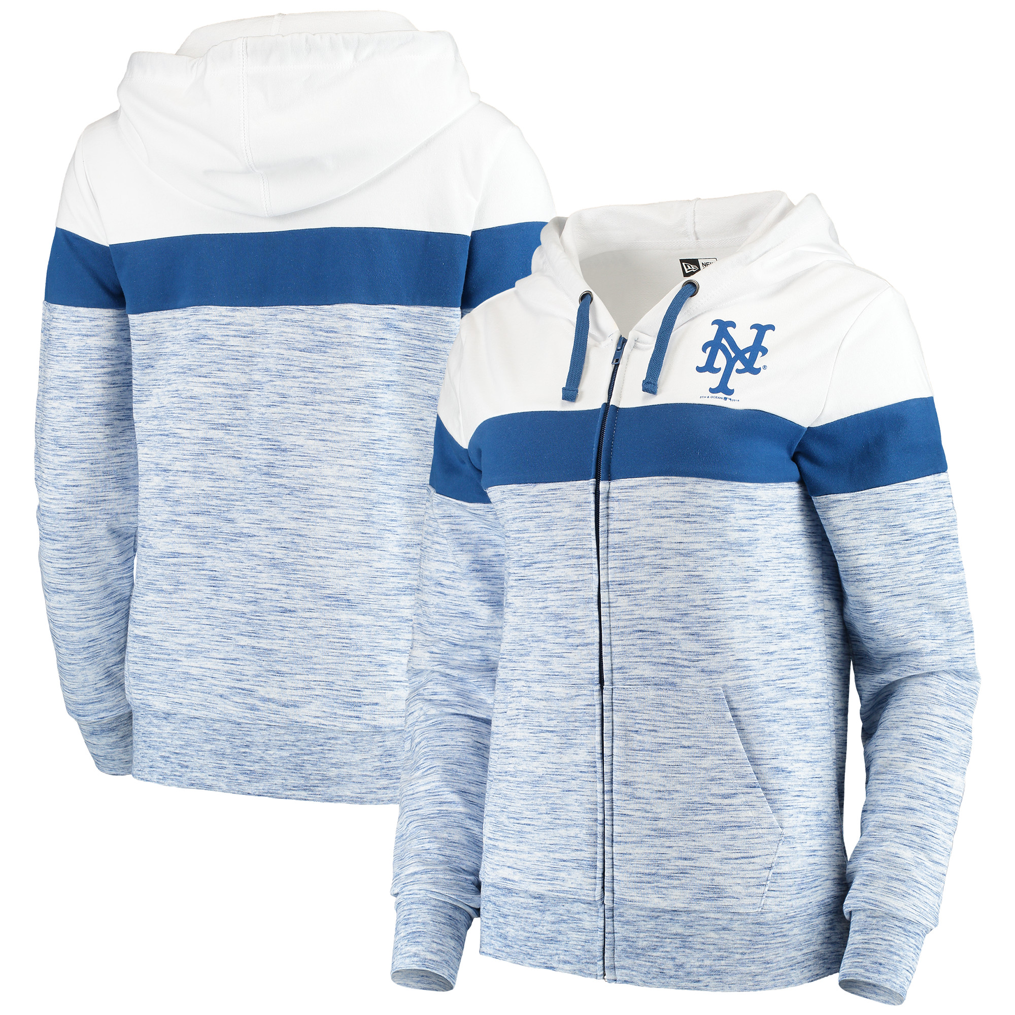 New York Mets 5th & Ocean by New Era Women's Space Dye French Terry Full-Zip Hoodie - Heathered Royal/White