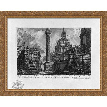 The Roman antiquities, t. 1, Plate XXIX. Trajan`s Column 36x28 Large Gold Ornate Wood Framed Canvas Art by Giovanni Battista Piranesi