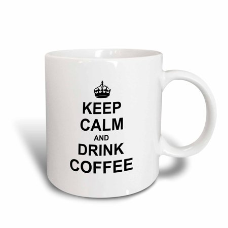 3dRose Keep Calm and Drink Coffee - Carry on drinking - for coffee lovers fans - black, Ceramic Mug, 15-ounce