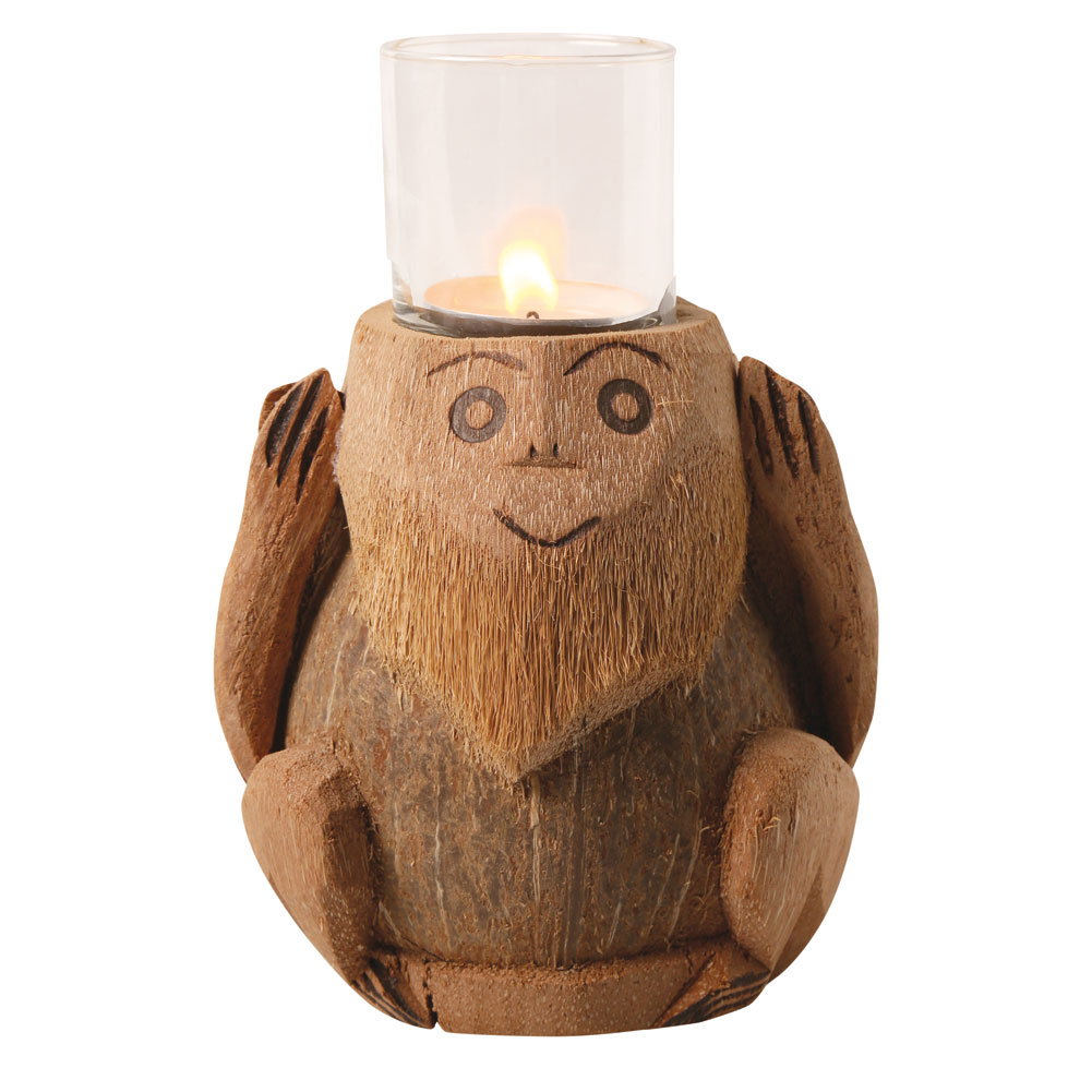 Three Wise Monkeys Coconut Tea Light Candle Holders