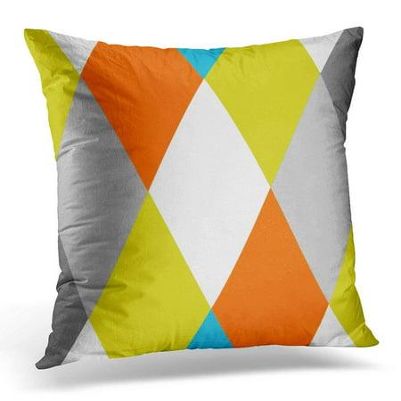BSDHOME Custom Yellow Gray Orange Blue Modern Geometric Colors Pillowcase Cushion Cover 18x18 inches - image 1 of 1