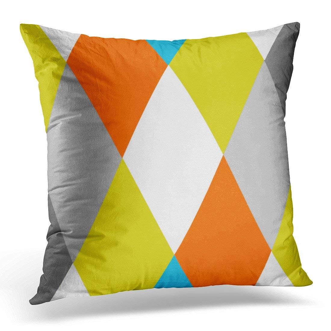 WOPOP Custom Yellow Gray Orange Blue Modern Geometric Colors Pillowcase Cushion Cover 18x18 inches