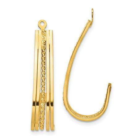 Primal Gold 14 Karat Yellow Gold Polished J-Hoop Earring Jackets