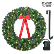 Christmas Wreath with LED String Lights - Artificial Door Wreath - Prelit DIY Xmas Pine Garland - 75 LEDs Battery Operated String Lights - Including Wreath Hanger - 24 Inch