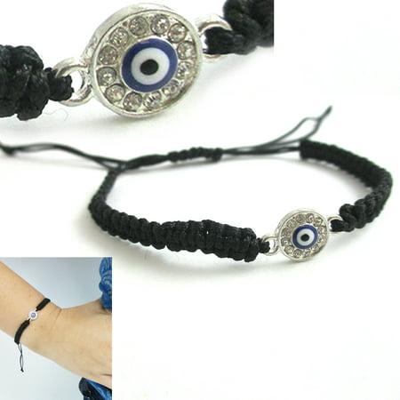 Black String Evil Eye Bracelet Protection Sterling Silver Safe Wet Luck Charm Mia Black Charm Bracelet