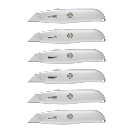 - Utility Knife with Retractable Blade – Ergonomic Aluminum Alloy Box Cutter with 3 Locking Positions and Carbon Steel Razors by Stalwart (Set of 6)