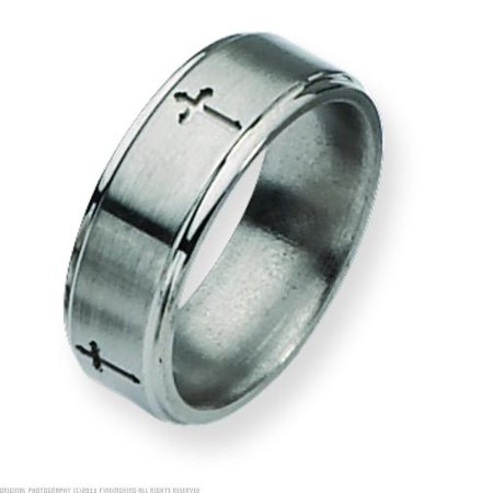 Titanium Cross Rings (Titanium Cross 8mm Brushed Mens Ring Band Size 10 )