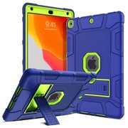 Elegant Choise iPad 7th Generation 2019 Released 10.2 Inch Case Heavy Duty Shock Absorption High Impact Resistant Armor Defender Case with Sturdy Kickstand for(Blue/Yellow)