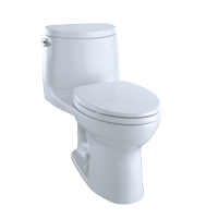 TOTO UltraMax II One-Piece Elongated 1.28 GPF Universal Height Toilet with CeFiONtect, Cotton White - MS604114CEFG#01