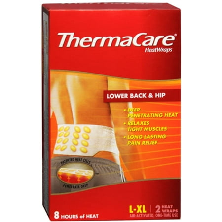 Thermacare Heatwraps Large Xl Lower Back   Hip 2 Ea  Pack Of 3
