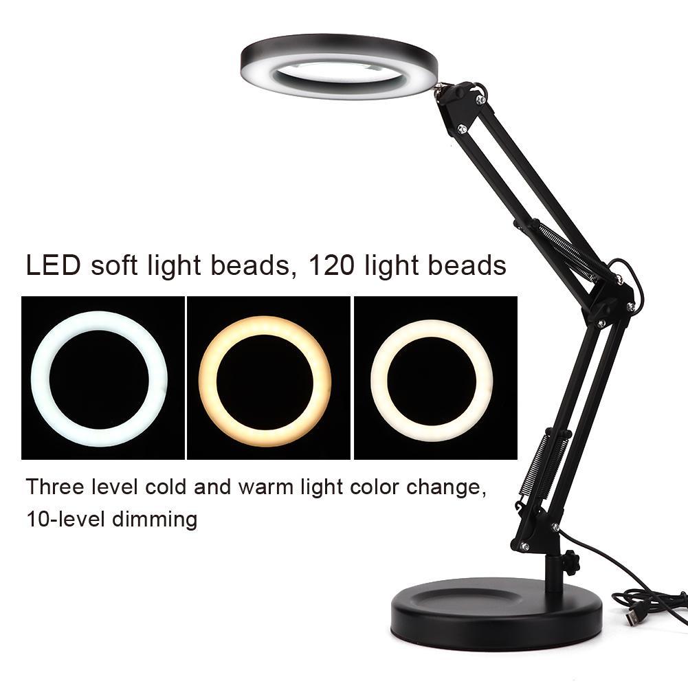 USB Desktop Magnifier Lamp Tattoo Foldable 5X Magnifying Glass Desk Lamp Energy Saving Led Lamp With Base Flex Magnifying Lamp Clamp Table