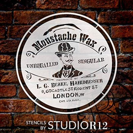 Moustache Wax Round Stencil by StudioR12 | DIY Old Victorian Barber Shop Ephemera Home Decor & Furniture | Vintage London | Paint Antique Wood Signs | Reusable Template | Select Size (18 x 18 inch)