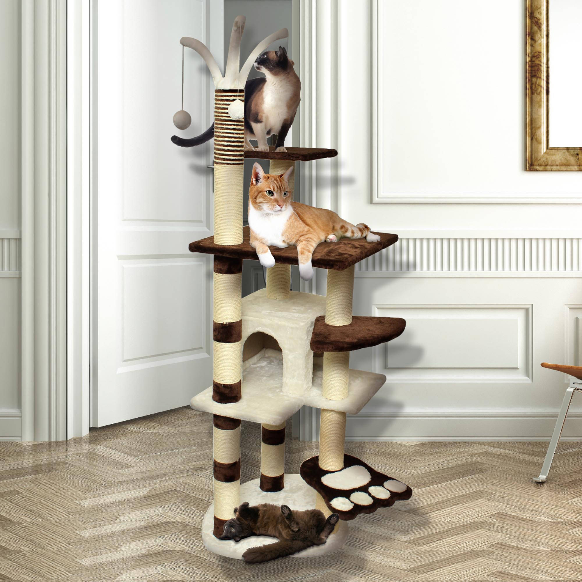 "Premium Cat Tree Tower Condo Scratch Furniture, 64"", Brown and White"