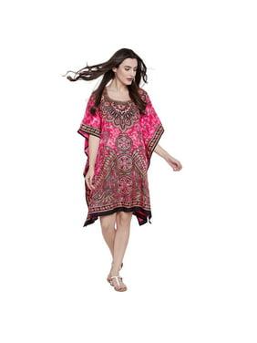 69f9825de7fc9d Product Image Pink Short Caftan for Women Floral Ladies Plus Size Tunic Top  Dresses for Women s Plus Size