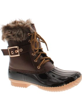 0b4d30506275 Product Image NATURE BREEZE DUCK-01 Women s Chic Lace Up Buckled Duck  Waterproof Snow Boots