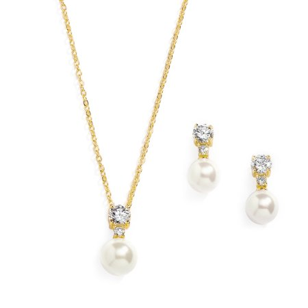 Mariell Gold CZ & Ivory Pearl Wedding Necklace and Earrings Jewelry Set for Bridesmaids & Brides (Bridal Earrings And Necklace Set)
