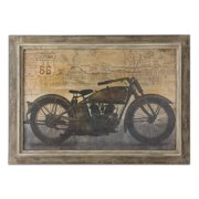 "42"" Hand Finished Route 66 Motorcycle Oil Reproduction Print Framed Wall Art"