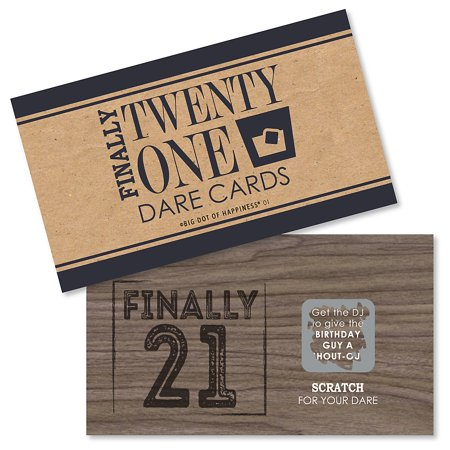 Finally 21 Girl - 21st Birthday - Party Game Scratch Off Dare Cards - 22 Count - Things To Do For 21st Birthday