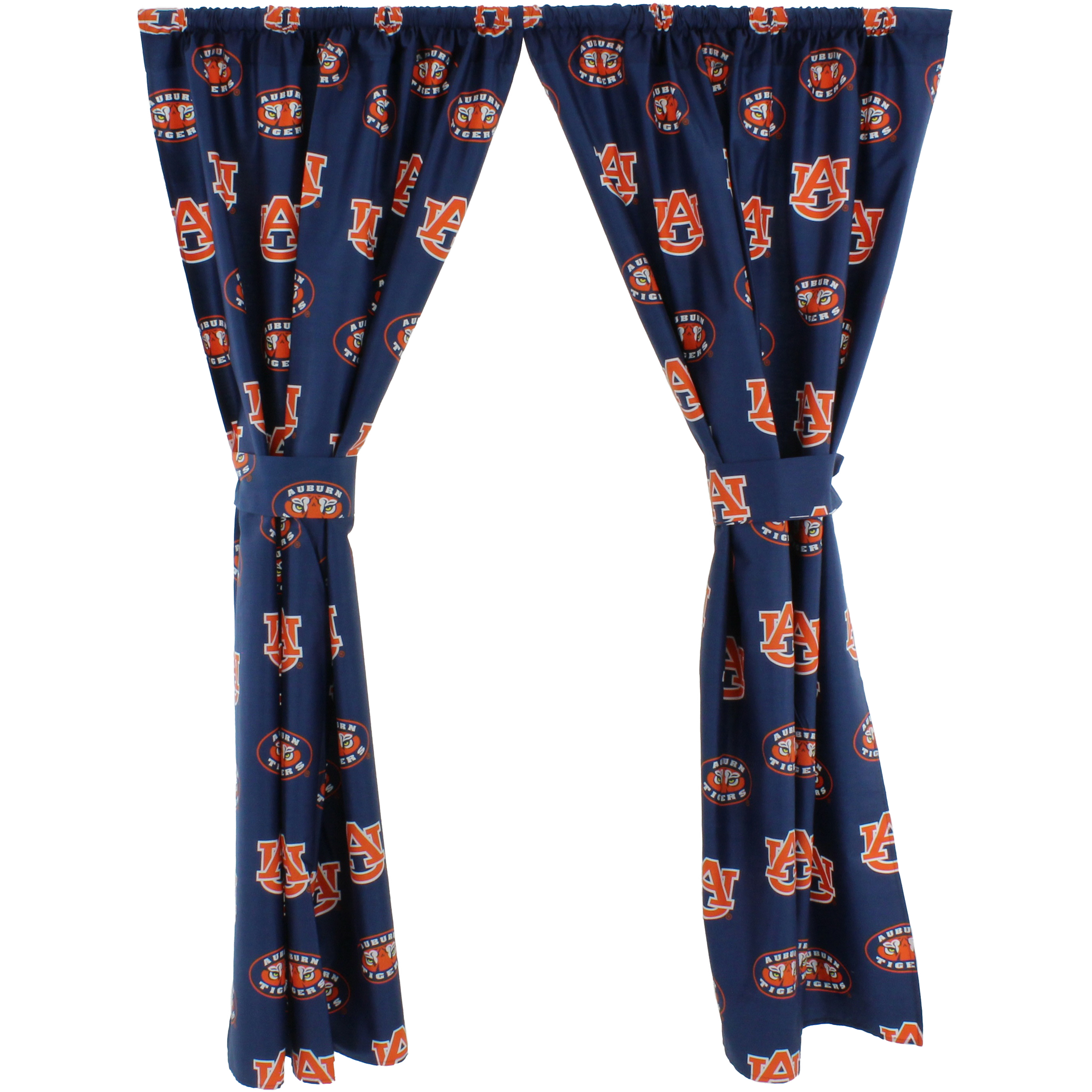 "Auburn Tigers 100% Cotton, 63"" Curtain Panels, Set of 2"