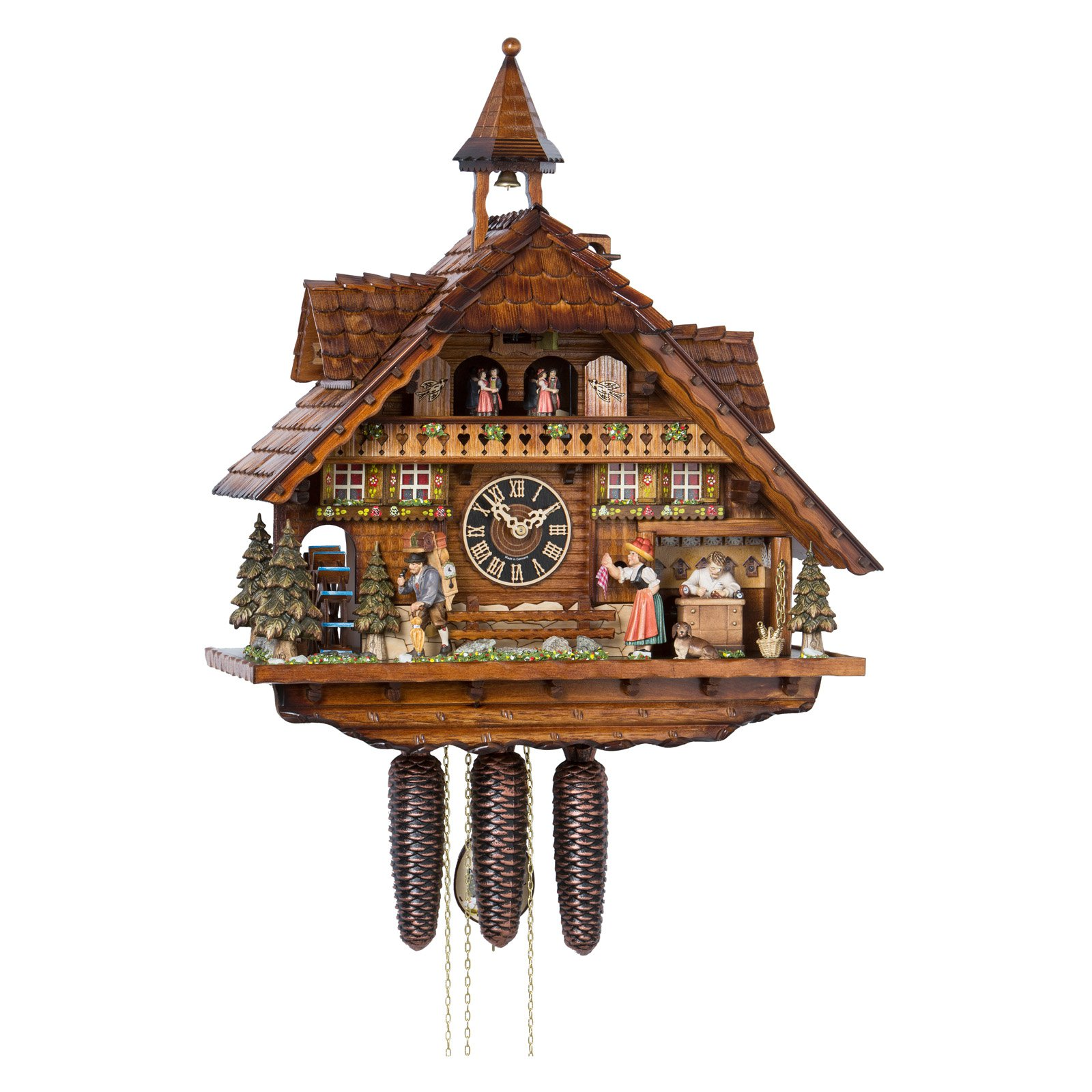 River City Clocks Eight Day Musical Cuckoo Clock with Moving Clockmaker Bell Ringer and... by River City Clocks