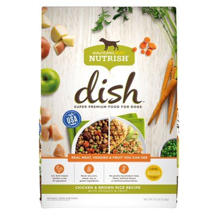 Rachael Ray Nutrish DISH Natural Dry Dog Food, Chicken & Brown Rice Recipe with Veggies & Fruit, 11.5