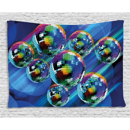 70s Party Decorations Tapestry, Colorful Funky Vibrant Disco Balls Abstract Night Club Dancing Theme, Wall Hanging for Bedroom Living Room Dorm Decor, 60W X 40L Inches, Multicolor, by Ambesonne