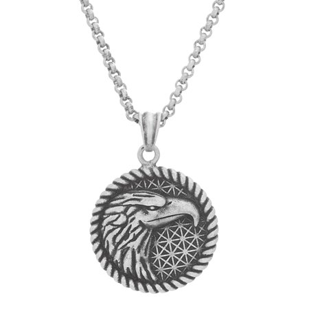 Mens 26 Rope Design Eagle Pendant Necklace in Oxidized Stainless Steel (Steel By Design Jewelry)