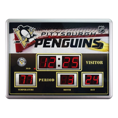 Team Sports America NHL Scoreboard Wall Clock with Thermometer