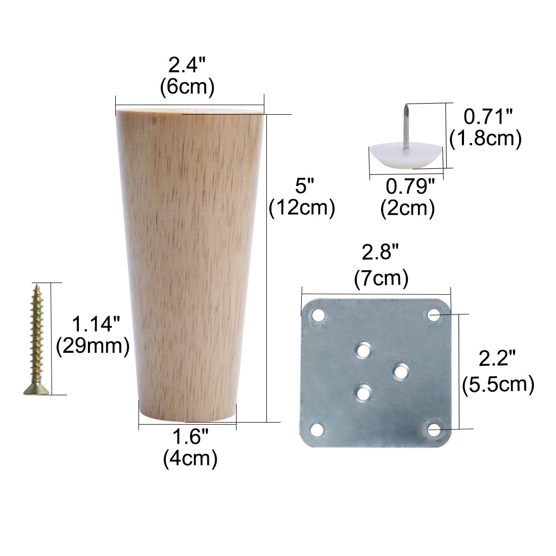 "5"" Wood Furniture Leg Chair Cabinet Cupboard Feet Replacement Height Adjuster - image 5 of 7"