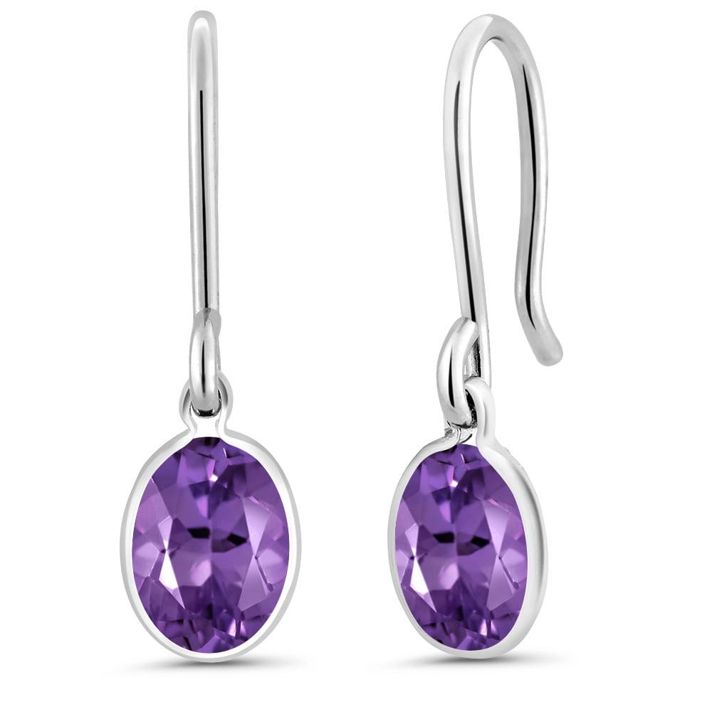 1.50 Ct Oval Purple Amethyst 925 Sterling Silver Earrings