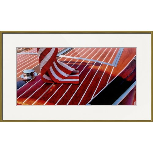 Imagekind 'Chris Craft with American Flag' by Michelle Calkins Framed Photographic Print
