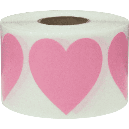 Pink Heart Stickers, 1.5 Inches in Size, 500 Labels on a Roll ()