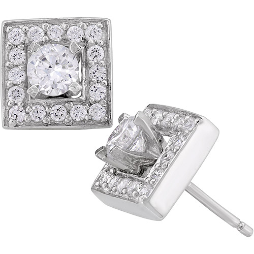 Cubic Zirconia Sterling Silver Square Earrings Jacket Set