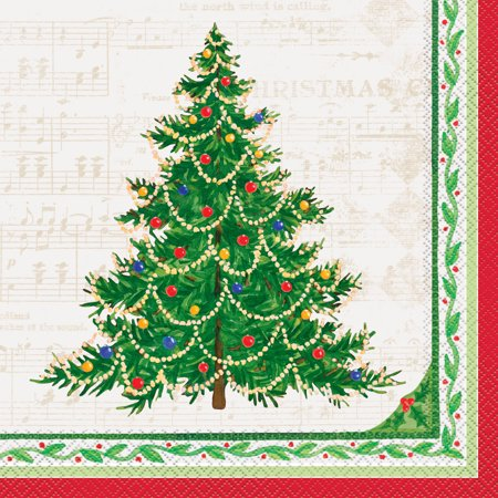 Classic Christmas Tree Paper Dinner Napkins, 8 in, 16ct