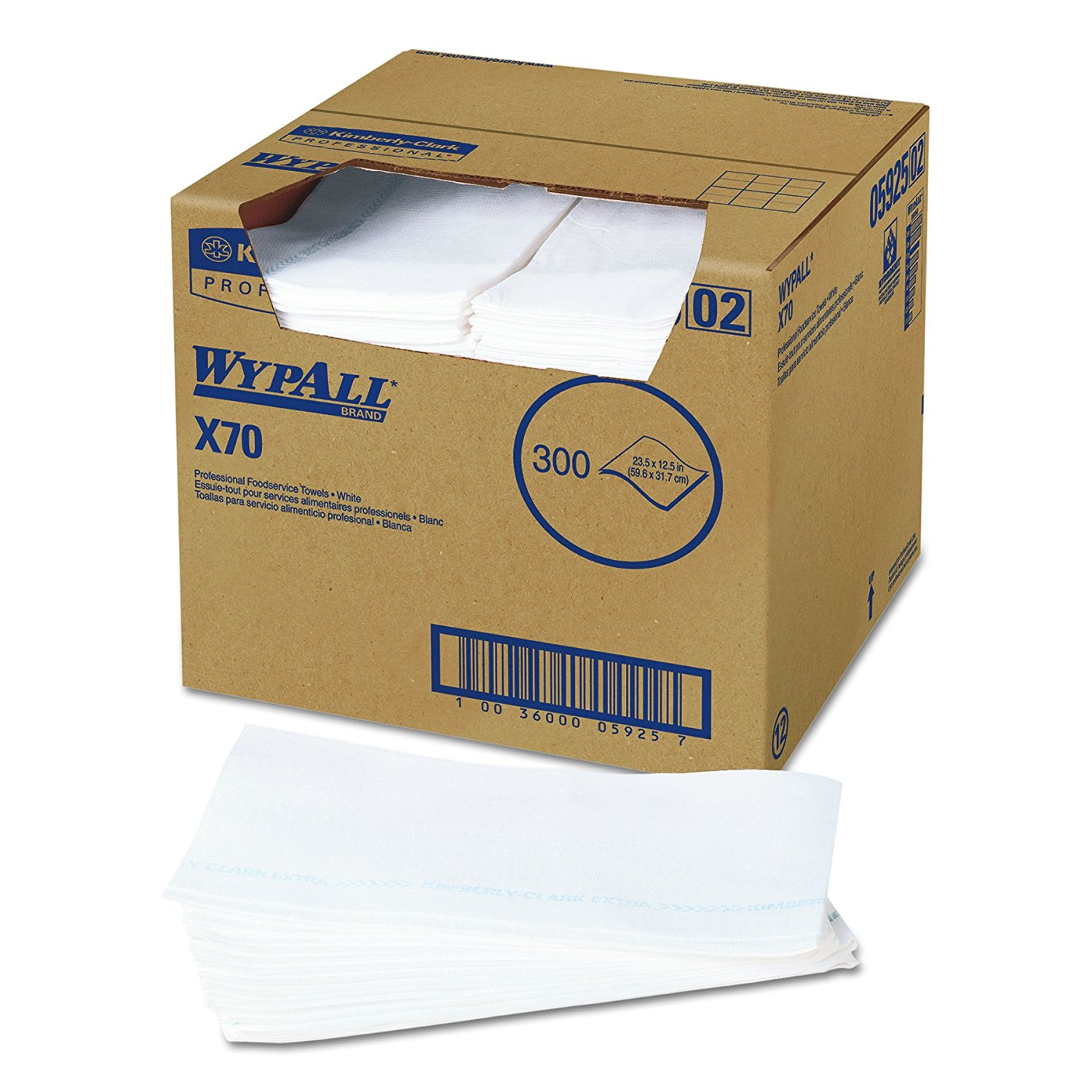 WypAll 05925 X70 Wipers, For Foodservice,12 1/2w x 23 1/2d,White, (Case of 300)