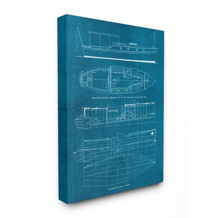 The Stupell Home Decor Collection Informational Boat Blueprint Oversized Stretched Canvas Wall Art, 24 x 1.5 x 30