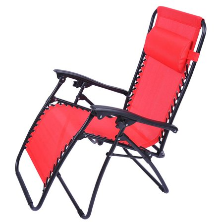 Outsunny Zero Gravity Recliner Lounge Patio Pool Chair Fire Red