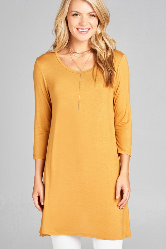 Women's 3/4 Sleeve Round Neck Rayon Spandex Jersey Tunic Top