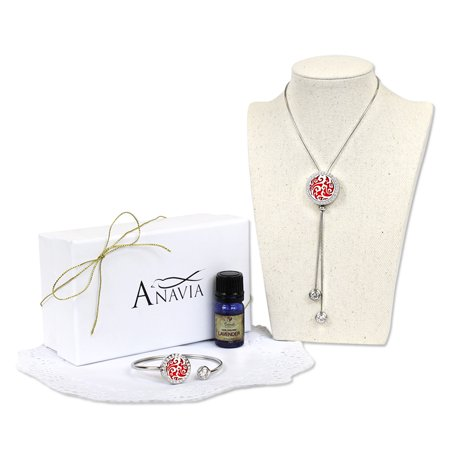 Anavia Clouds Aromatherapy Slider Necklace and Twistable Cuff Bangle With Lavender Essencial Oil Gift Set with Gift Box