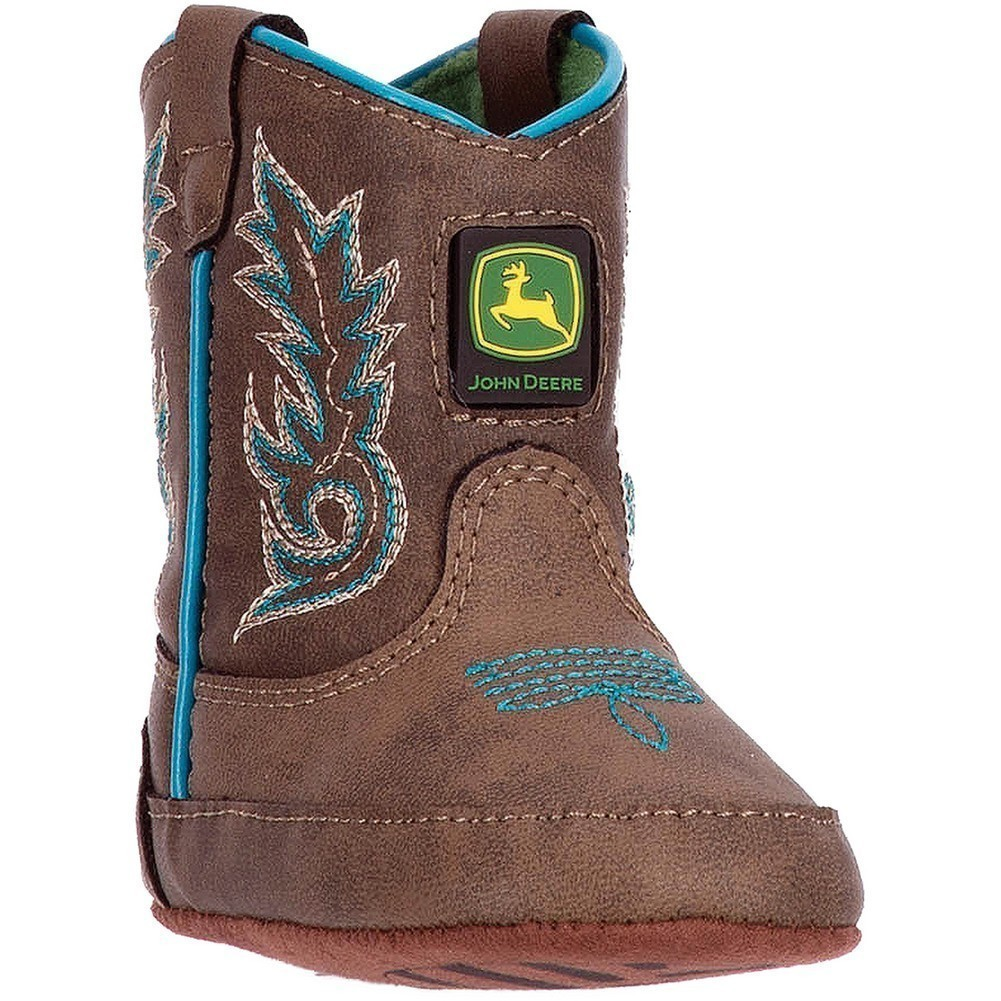 John Deere Boys Brown Turquoise Stitch Pull-On Crib Boots by John Deere