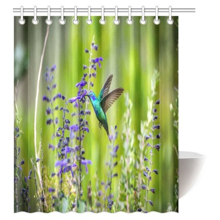 MYPOP Beautiful Hummingbirds Decor Shower Curtain Green