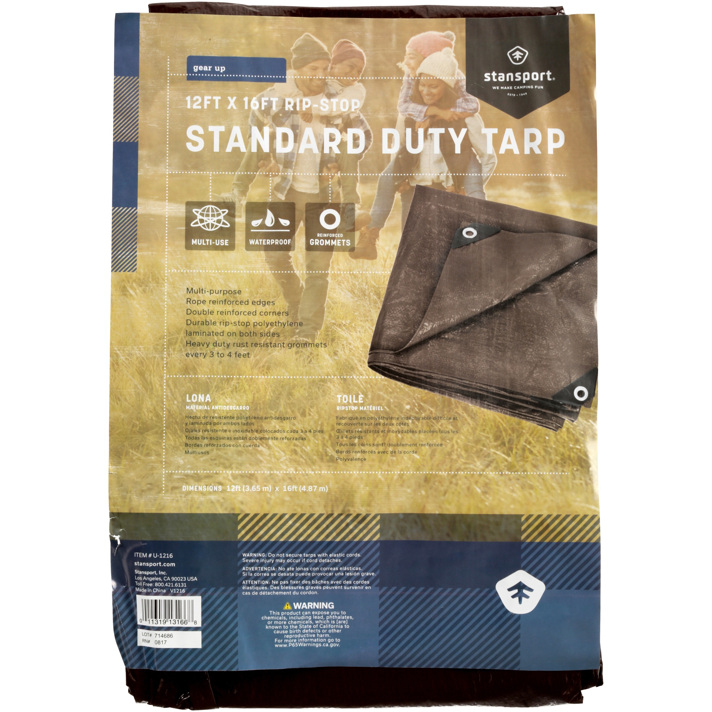 Rip Stop Tarp, 12' x 16', Brown
