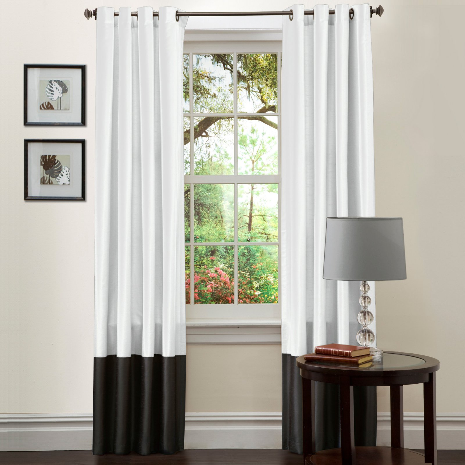 "Prima Black/White Window Curtains, Pair, 54"" x 84"""