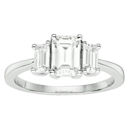 14K White Gold Moissanite Emerald Three-Stone Ring 1.55 DEW