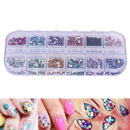3600pcs Rhinestones Nail Art Case Assorted Designs For Acrylic Tips
