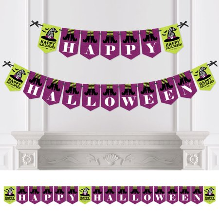Happy Halloween - Witch Party Bunting Banner - Party Decorations - Happy Halloween (Halloween Witch Party)
