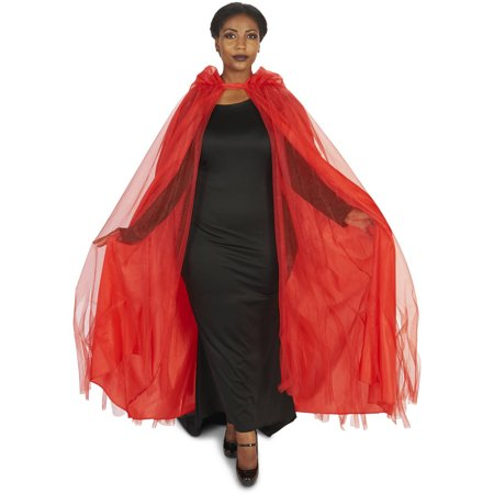 Red Mesh Adult Plus Cape Halloween Accessory for $<!---->