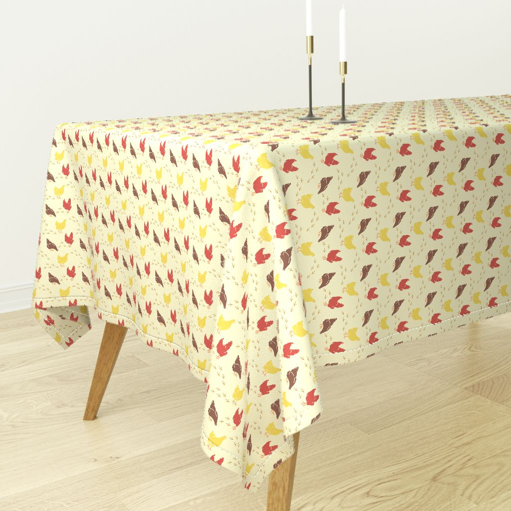Merveilleux Tablecloth Country Style Farmhouse Farm Animals Chickens Hens Cotton Sateen
