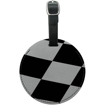 Checkered Flag Racing Round Leather Luggage ID Tag Suitcase Carry-On for $<!---->